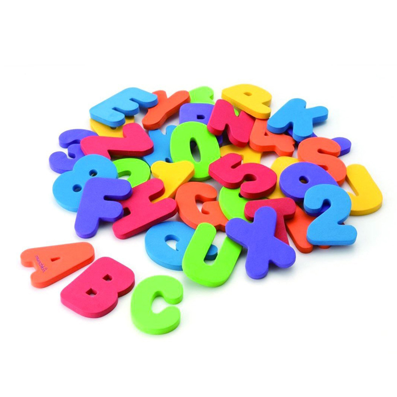 36 Pcs/Set Shower Water Paste Baby Bath Alphanumeric Letters Puzzle Toy Floating Numbers fit 0-9 September Education Toys(China (Mainland))