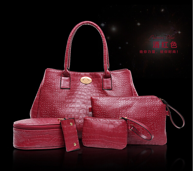 new Five-piece crocodile bag influx of women in Europe and America, Ms. shoulder bag leather handbags(China (Mainland))