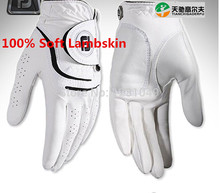 Top quality Brand men breathable durable Non-slip lamb genuine soft Lambskin leather Golf gloves right left hand glove guantes(China (Mainland))