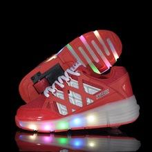 Child Jazzy Heelys, Junior Girls/Boys LED Light Heelys, Children Roller Skate Shoes, Kids Sneakers With Single Wheels(China (Mainland))