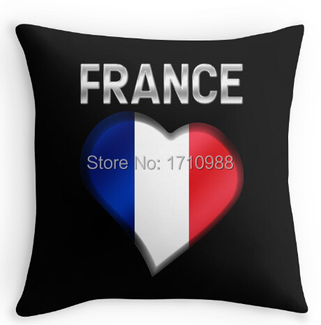 French Flag Heart & Text - Metallic Pillowcase Zippered Pillow Case(two sides) for 12x12 14x14 16x16 18x18 20x20 24x24 inch(China (Mainland))