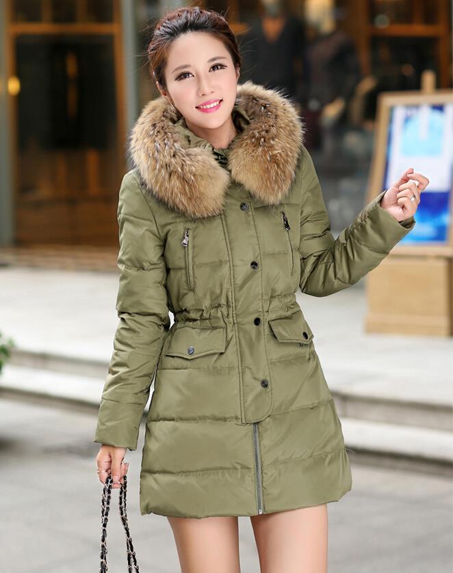 Solid Spliced Hooded Parka Winter Coat Women 2015 Manteau Femme Desigual Fur Collar Womens Jackets Coats Jacket