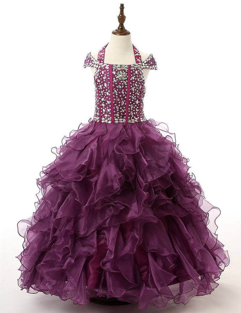 Real Model Kids Birthday Party Christmas Ball Gown Dark Purple Halter Cap Sleeves Beads Ruffle