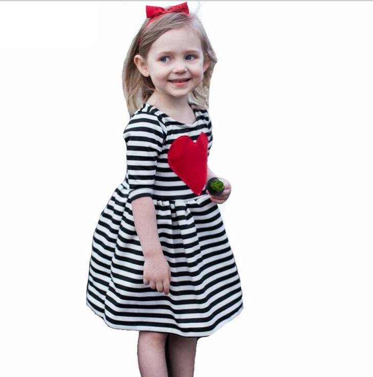 Popular Heart Striped Half Sleeve Girls Dresses Spring Summer Cotton O-neck A-line Mini Children's Dress Vetement Enfant Fille(China (Mainland))