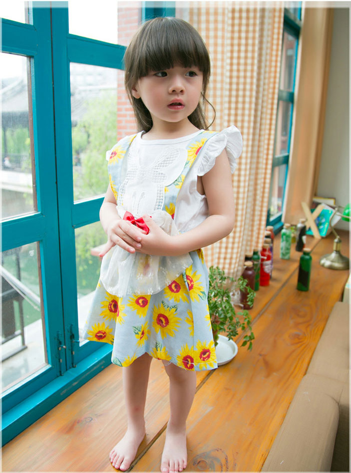 2016 summer new children's clothing girls children sunflowers fake two strap dress dress Birthday Dresses For Kids age2-6year123(China (Mainland))