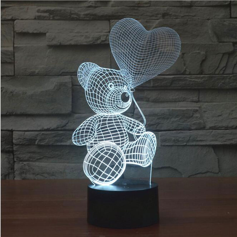 3D Mood Lamp animal cute teddy bear Bulbing Light Love balloon visual light 3d touch button night light Creative gift lamps(China (Mainland))