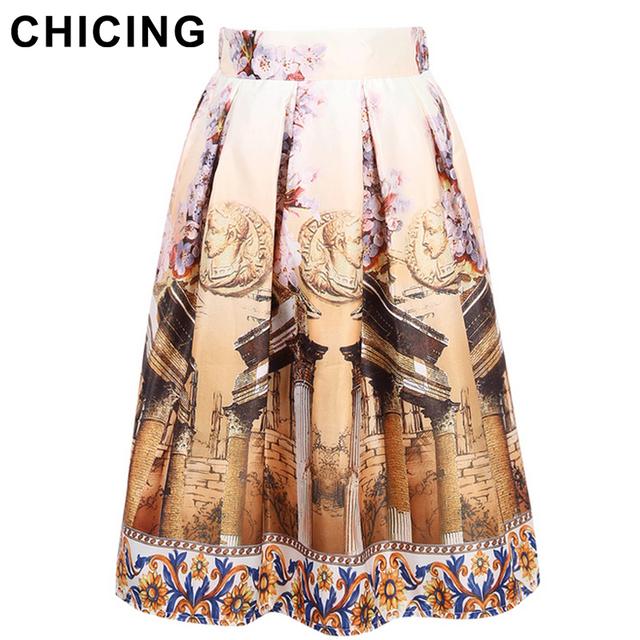 Chicing новинка 2015 зима старинные здания живопись высокой талией конькобежец юбка ...