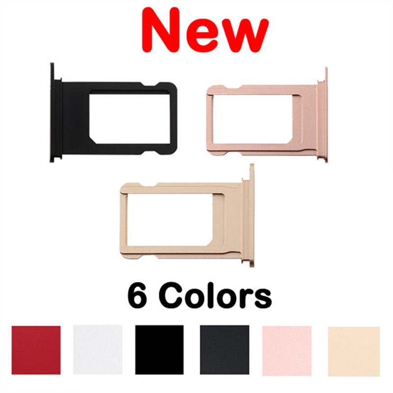 100% New High Quality Sim Card Tray For iPhone 7 7 Plus Red Pink Gold Silver Jat Black Sim Card Slot Holder Repair Parts
