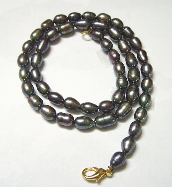 Free Shipping 10pcs/lot Black Rice Freshwater Pearl Fashion Necklace Lobster Clasp 16inch P4