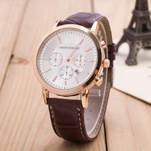 Mens Clock Hour Fashion Watch Women Alloy Steel PU Geniues Leather White And Black Big Dials Busniess WristwatchChain wristwatch