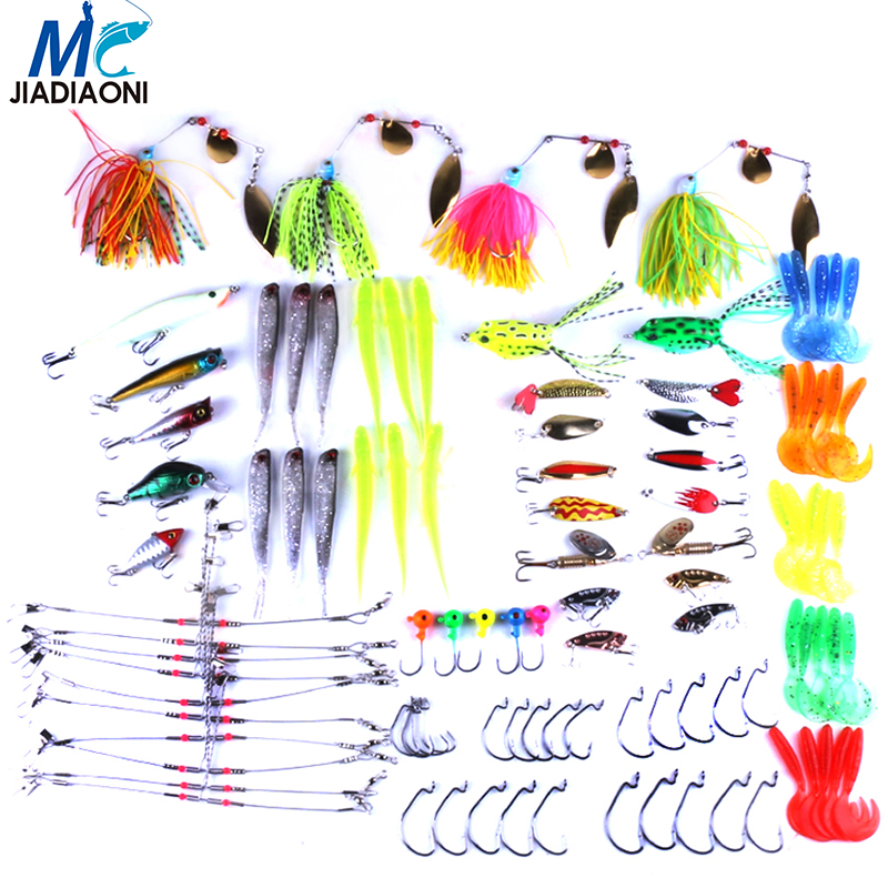 JIADIAONI 102 Pieces Carp Fishing Lure Set Spinner Metal Bait Fly Fishing Wobblers Minnow Crankbait Lures Cheap Fishing Tackle(China (Mainland))