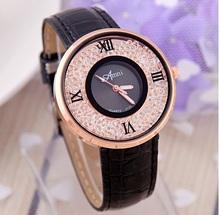 NEW Amni Crystal Gold Women Watch Roman Number wristwatch rhinestone sand Analog Watch Black Rejo Para Dama Geneva Style