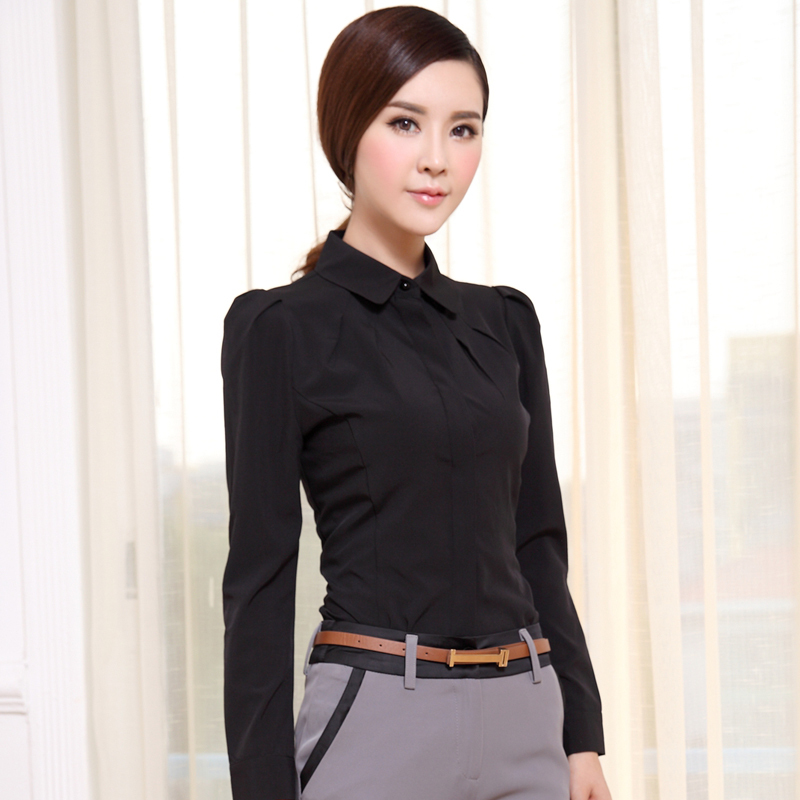 2014 New Blouse Women For Business Women Plus Size Solid