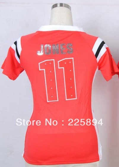 Hot Women's American Football Jersey #11 Julio Jones Red With Diamond Handwork Sequin Lettering Fashion Jersey Size S-XXL(China (Mainland))