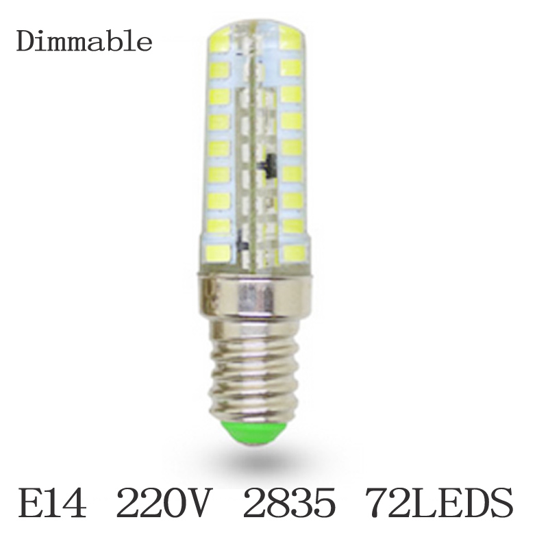 Dimmable E14 72 SMD 2835 led Silicon candle lamp AC 220V 15W non-polar replace halogen light LED Bulb lighting dimmable(China (Mainland))