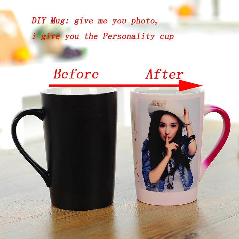 Magic Tricks Change Colour Coffee Mug Creative Ceramic tea Cup DIY Craft Creative Gifts Wedding Gifts Customize your own mug(China (Mainland))