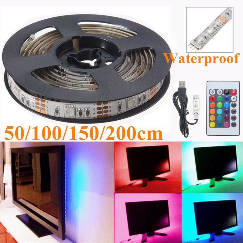 50/100/150/200cm 5050 SMD TV Background Lighting Kit USB LED Strip Light RGB Lamp Waterproof With 24 Keys IR Remote DC5V(China (Mainland))