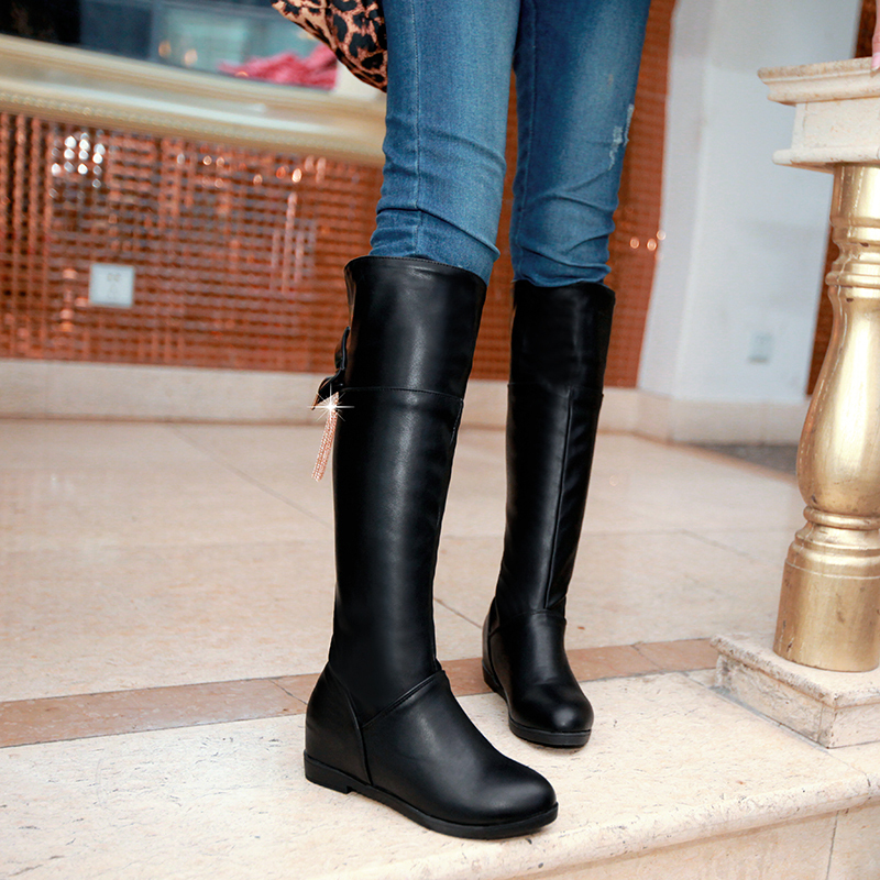 Warm Winter Snow Boots Flat Fashion Women Knee High Boots Over The Knee Boots Bow Rhinestone metal chain Motorcycle Boots