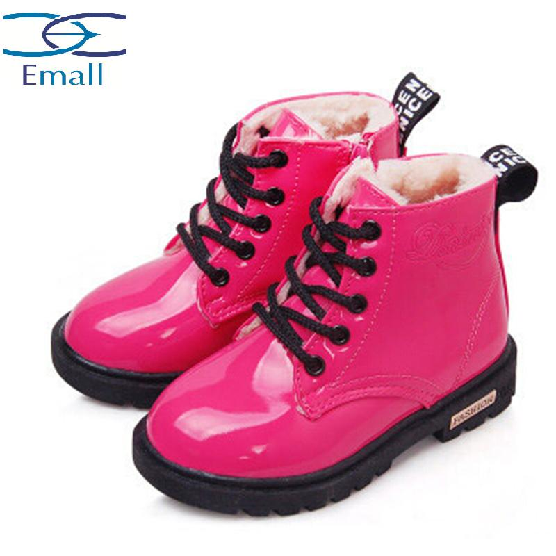 1-12 years children winter boots child martin snow boots kids baby boys boot girls warm fur patent leather snow shoes waterproof