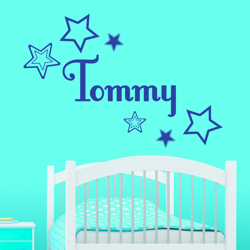 Customize Personalised Name Star Cluster Wall Sticker Kids Baby Name Decal Vinyl Transfer Bedroom Decor(China (Mainland))