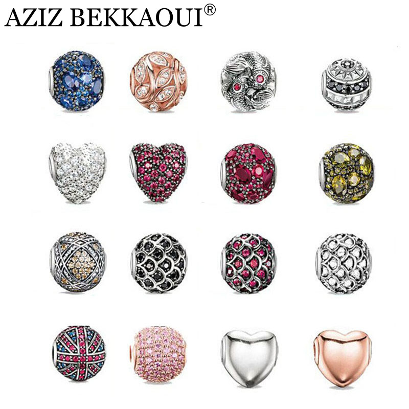 AZIZ New crystal beads fit european pandora bracelets necklaces silver plated diy heart cabochon charms women men jewelry - BEKKAOUI Offical Store store