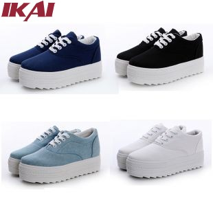 2015 Hot Sale Women Platform Shoes Fashion Sneakers Free Shipping Breathable Thick Heel Casual White Canvas Shoes XWL142-0.5(China (Mainland))