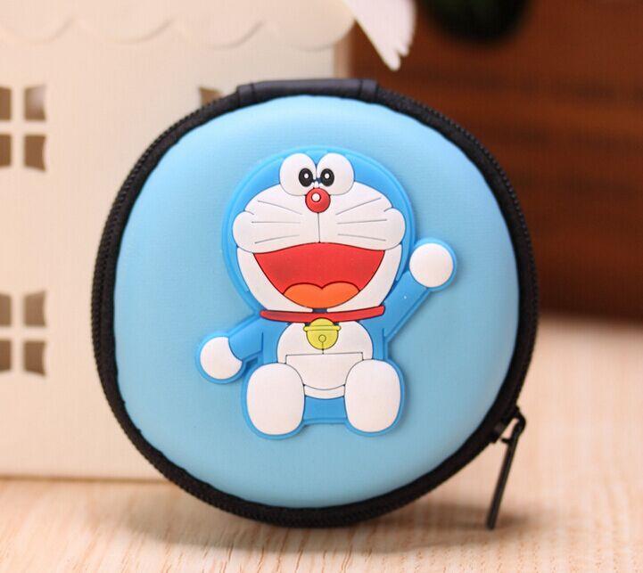 Cute Cartoon Doraemon Cat Coin BAG - 7CM Cable Wire Holder BOX Pocket BAG Coin Purse BAG Key BAG Wallet Pouch(China (Mainland))