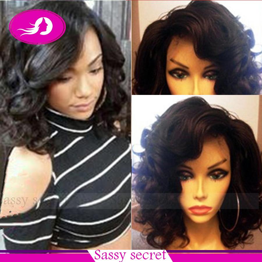 Short Bob Black Body Wave Synthetic Lace Front Wig Kanekalon Heat Resistant Fiber Glueless Wavy Lace Front Wigs For Black Women<br><br>Aliexpress