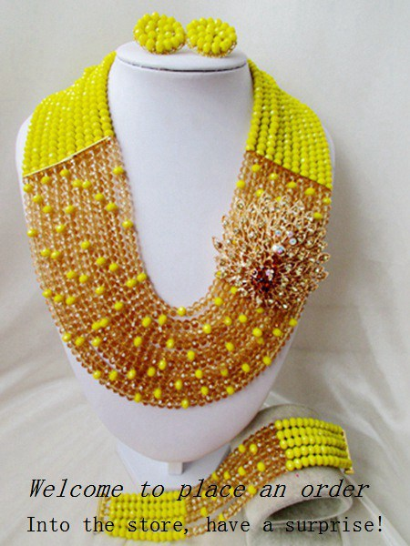 2015 Fashion african yellow crystal beads necklace set nigerian wedding african beads jewelry set Free shipping P-4342<br><br>Aliexpress