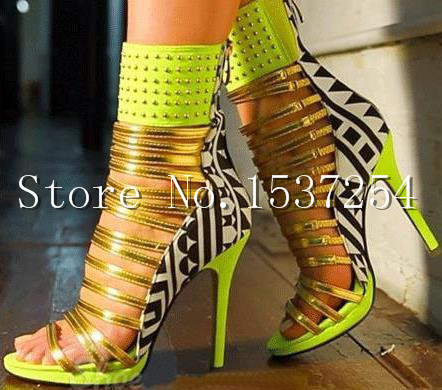 Hot Selling Bright Color Summer Style Woman Sandals Pointed Toe Shoes RIvets Cutouts High Heels Pumps