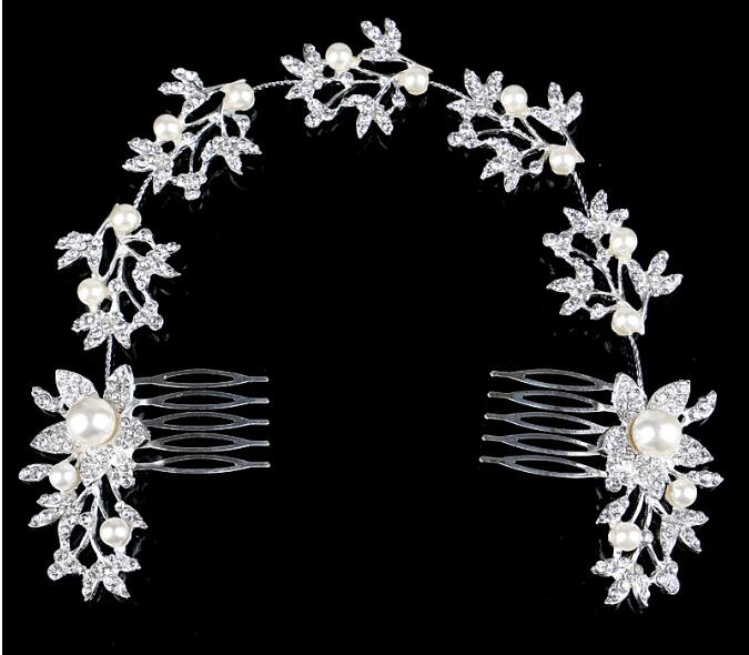Hot Sale Wedding Bridal Jewelry Comb Tiara Crown Fashion Pearl Flower Brides Hair Jewelry Accessories(China (Mainland))
