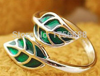 2015 new fashion gold jewelry and cute green silver leaf ring for women Fashion Jewelry Wholesale