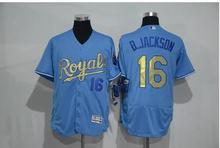 2016 Mens 16 Bo Jackson jersey 100% Stitched color white blue Flexbase Baseball Jerseys top quality(China (Mainland))
