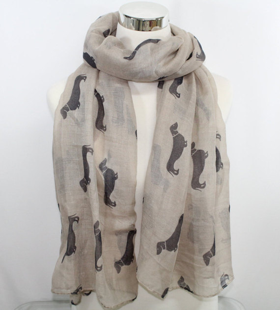 Dog Print Scarf Dachshund Print Scarf Dark Beige backdrop Regular Finish Animal Print Scarf Animal Scarf for Dog LoversОдежда и ак�е��уары<br><br><br>Aliexpress