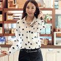 2016 Women Summer Chiffon Work Blouses Shirts Ladies Full Sleeve Turn down Collar Star Printed Blouse