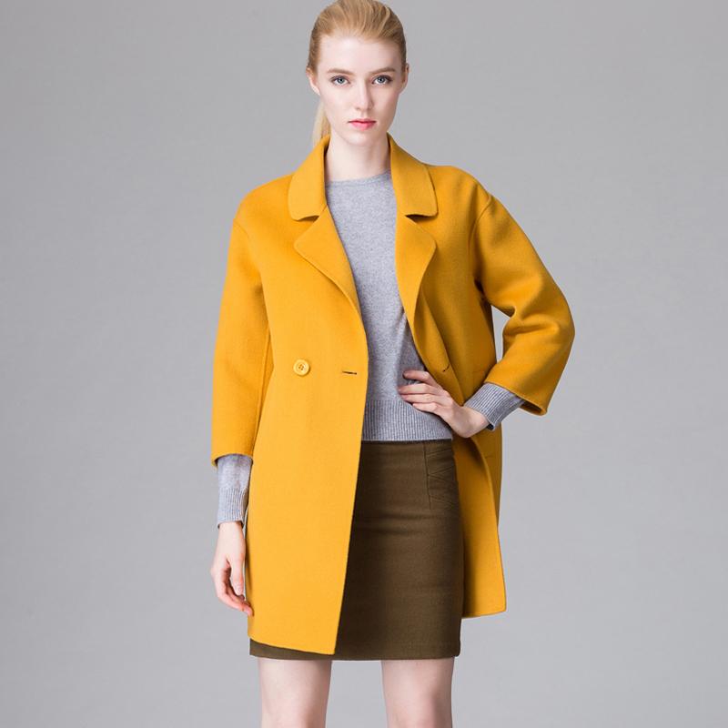 Fashion Sided Wool Coat Women Coats Turn-down Collar Women's Cashmere Coat Brand Women's Designer Wool Coat Long Sleeve WY016(China (Mainland))