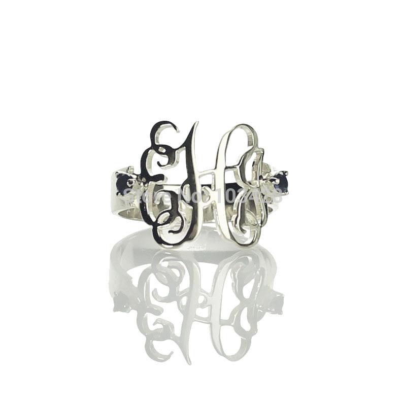 popular silver monogram rings buy cheap silver monogram