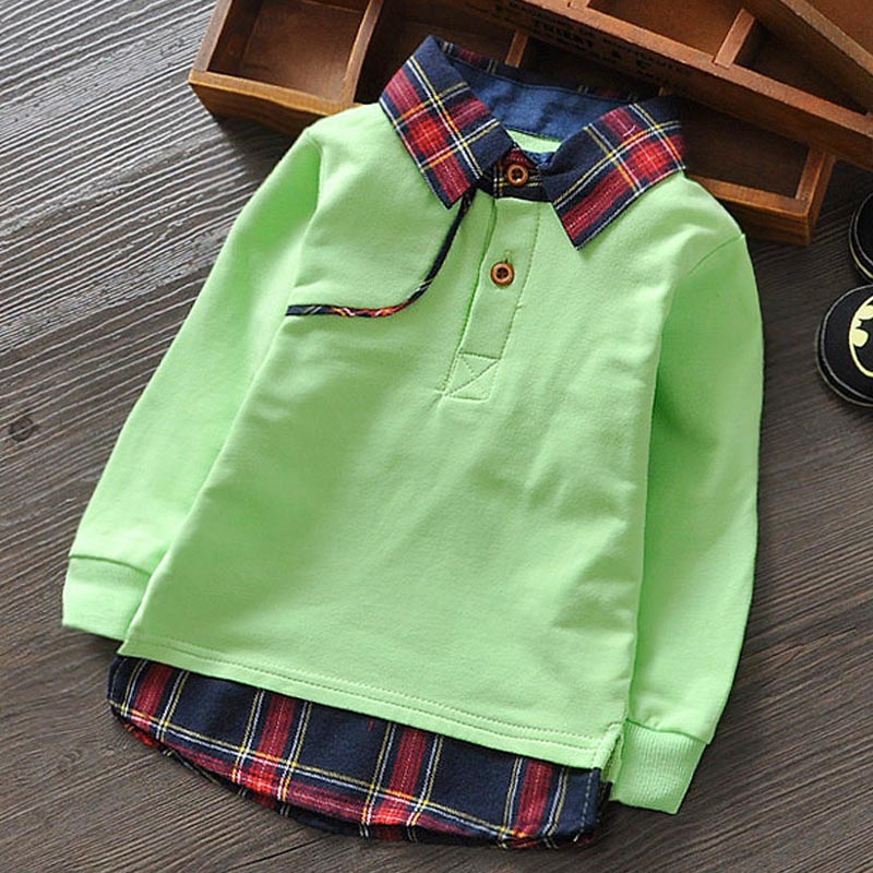 England Style Kids Boys Polo Shirts Long Sleeve Children Tops Tees Plaid Turn Down Collar Spring Toddler Shirts In Boys & Girls(China (Mainland))