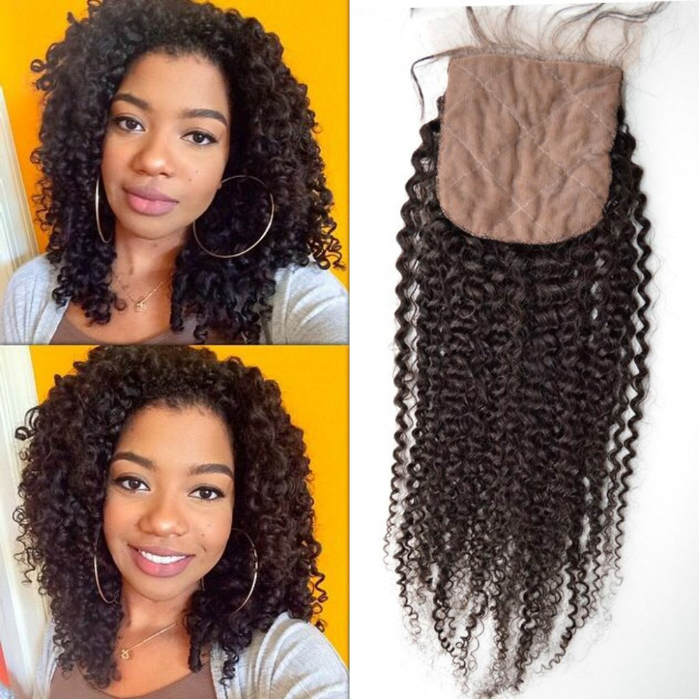Best Mongolian virgin hair middle part natural color Afro kinky curly Silk Base lace closure DHL Free shipping<br><br>Aliexpress