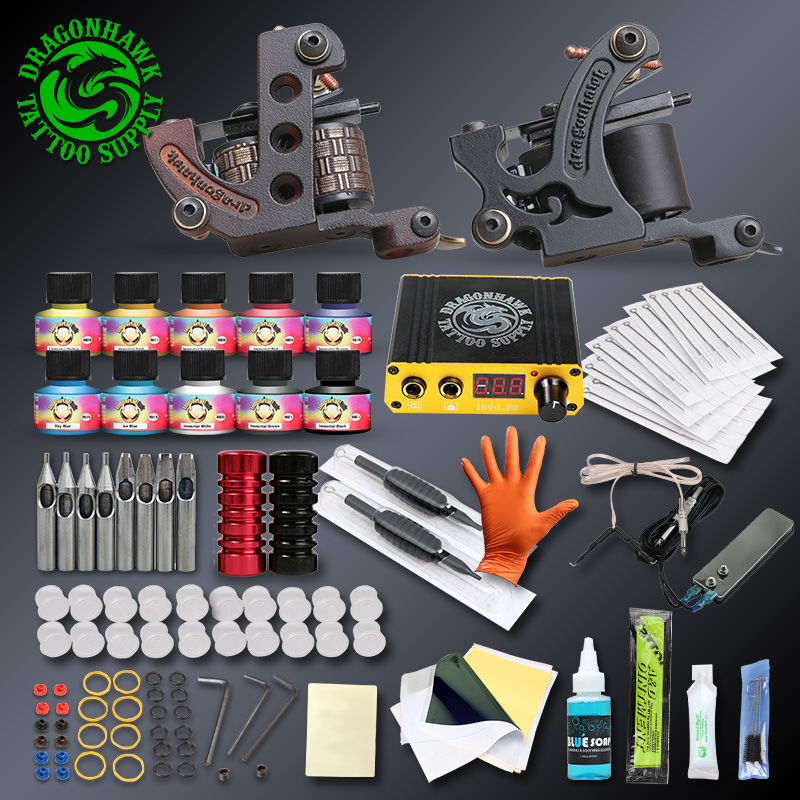 Professional Complete Tattoo Kits Set Tattoo Machine Power Supply 2 guns Immortal Color Inks Tattoo Supplies(China (Mainland))