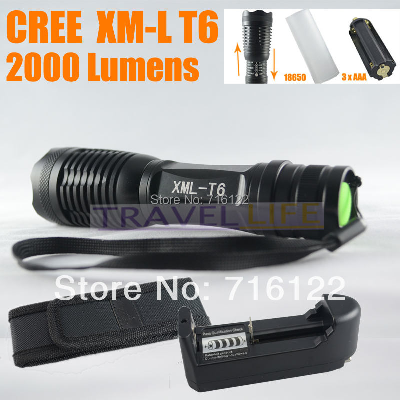UltraFire 12W 2000 Lm CREE XM-L T6 Focus Adjust Zoom Led mini Flashlight Torch + Battery Charger + Holster(China (Mainland))
