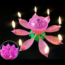 Beautiful Lotus Happy Birthday Sparkling Fountain Flower 8 Petals Candle Cake Topper Decoration Kids Birthday Party Supplies(China (Mainland))