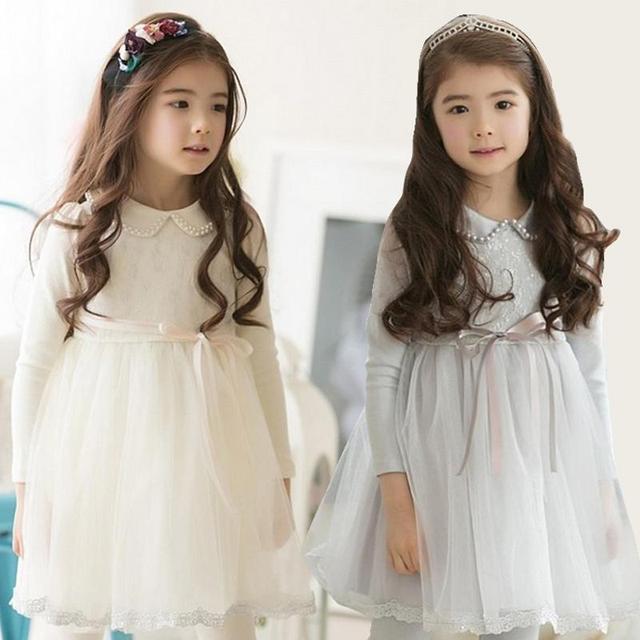 2015 осенью девушка длинный рукав платья новорожденных девочек кружева жемчужина платья дети дети платье принцессы