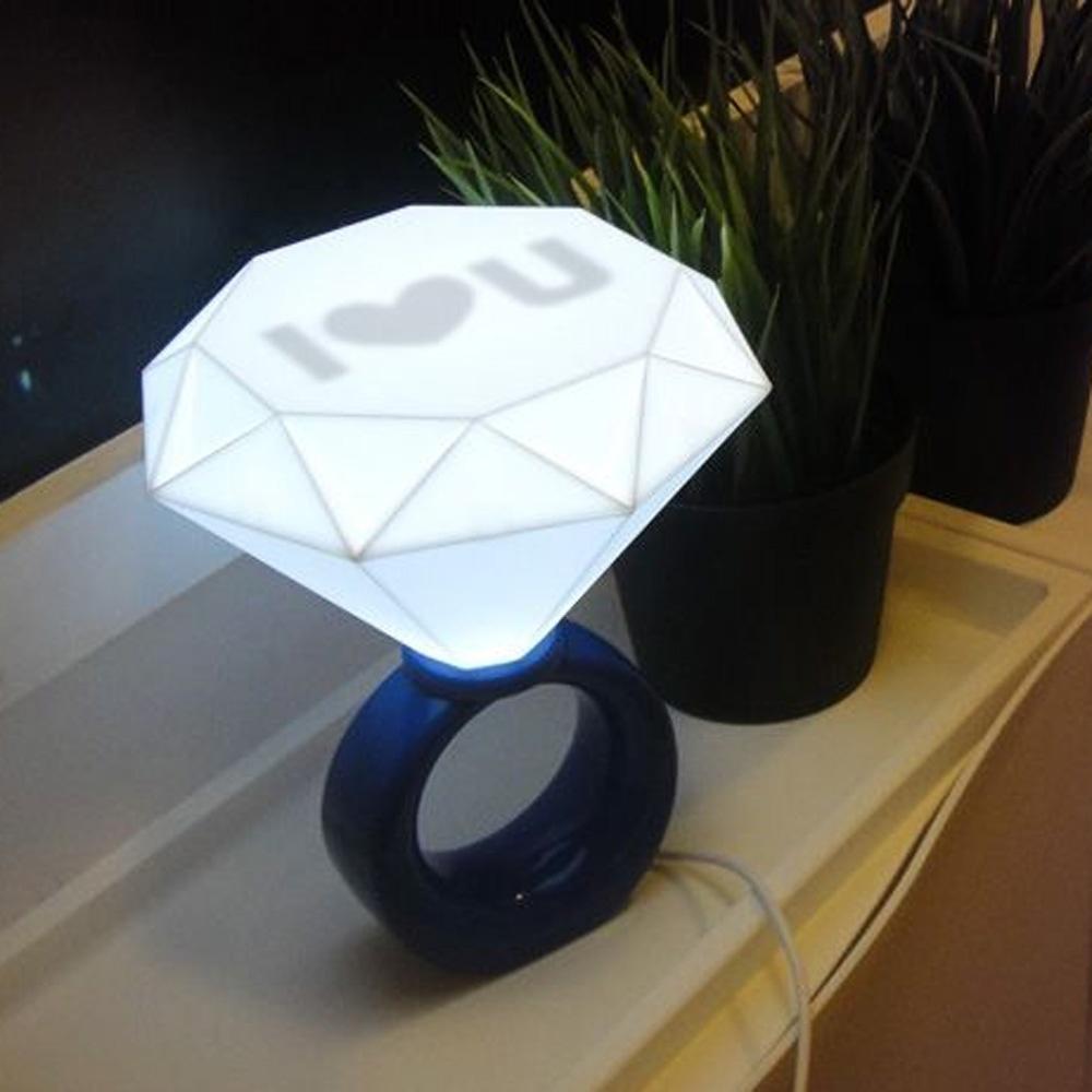 Romantic Diamond Ring Shaped USB LED Table Light Desk Lamp Printed I Love U For Home Bedroom Decoration Free Shipping(China (Mainland))