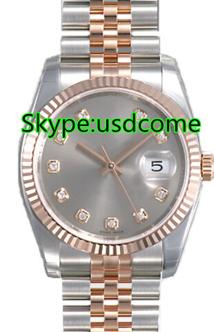 Best Sales Datejust Oyster Perpetual Silver Diamond Dial Fluted 18k Rose Gold Bezel Jubilee Bracelet Men's Watch 116231SDJ(China (Mainland))