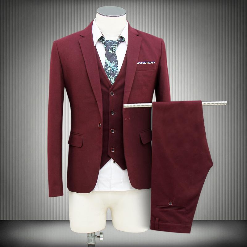 2015 вино-красный джентльмен luxuy костюмы slim-подходят blazer жилет свадьбы жених выпускного вечера смокинги 3 шт. костюмы