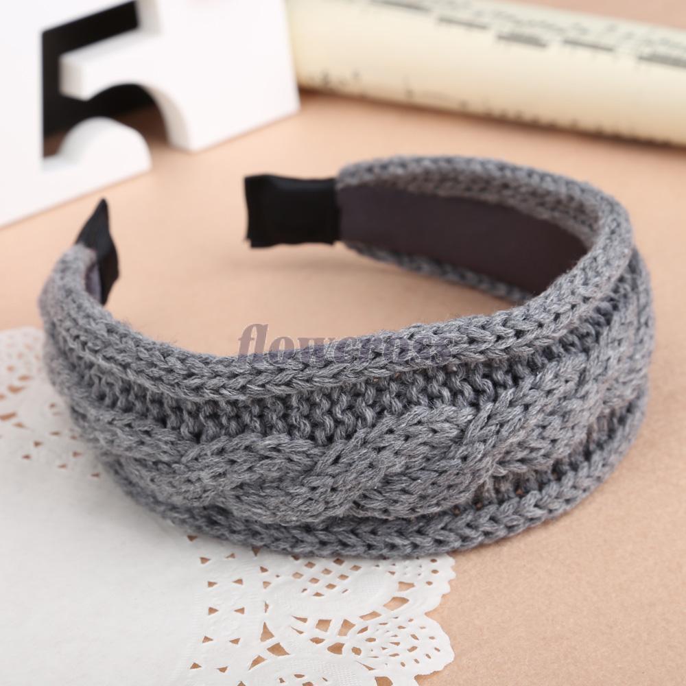 Fashion Weave Twist Knitting Wool Knitted Headband Hair Hoop Grey(China (Mainland))