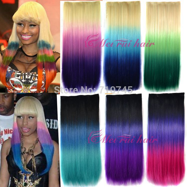 1pc 120g 65cm Dying hair extension clips in Synthetic Hair Hairpiece free shipping(China (Mainland))