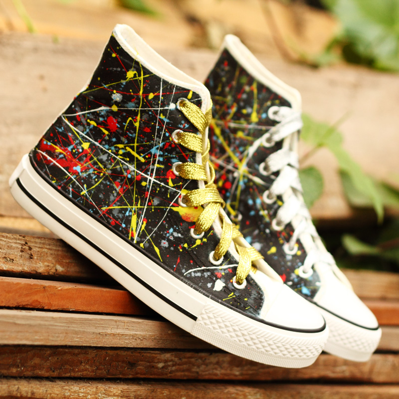 Europe street punk lovers Gao Bang canvas shoes hand-painted graffiti shoes lace star personality mvfpmhxbbb