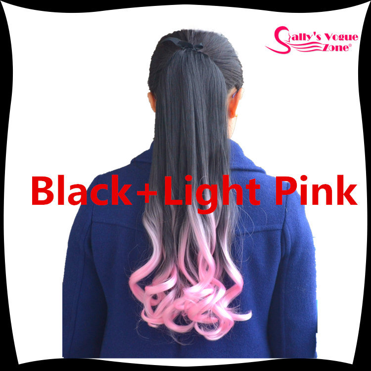 Kanekalon Synthetic Wavy Ribbon Ponytails Hair Extension Ombre 2 Tone Black+ Baby Pink/ Pale Pink /Light Pink 22 100g Hairpiece<br><br>Aliexpress